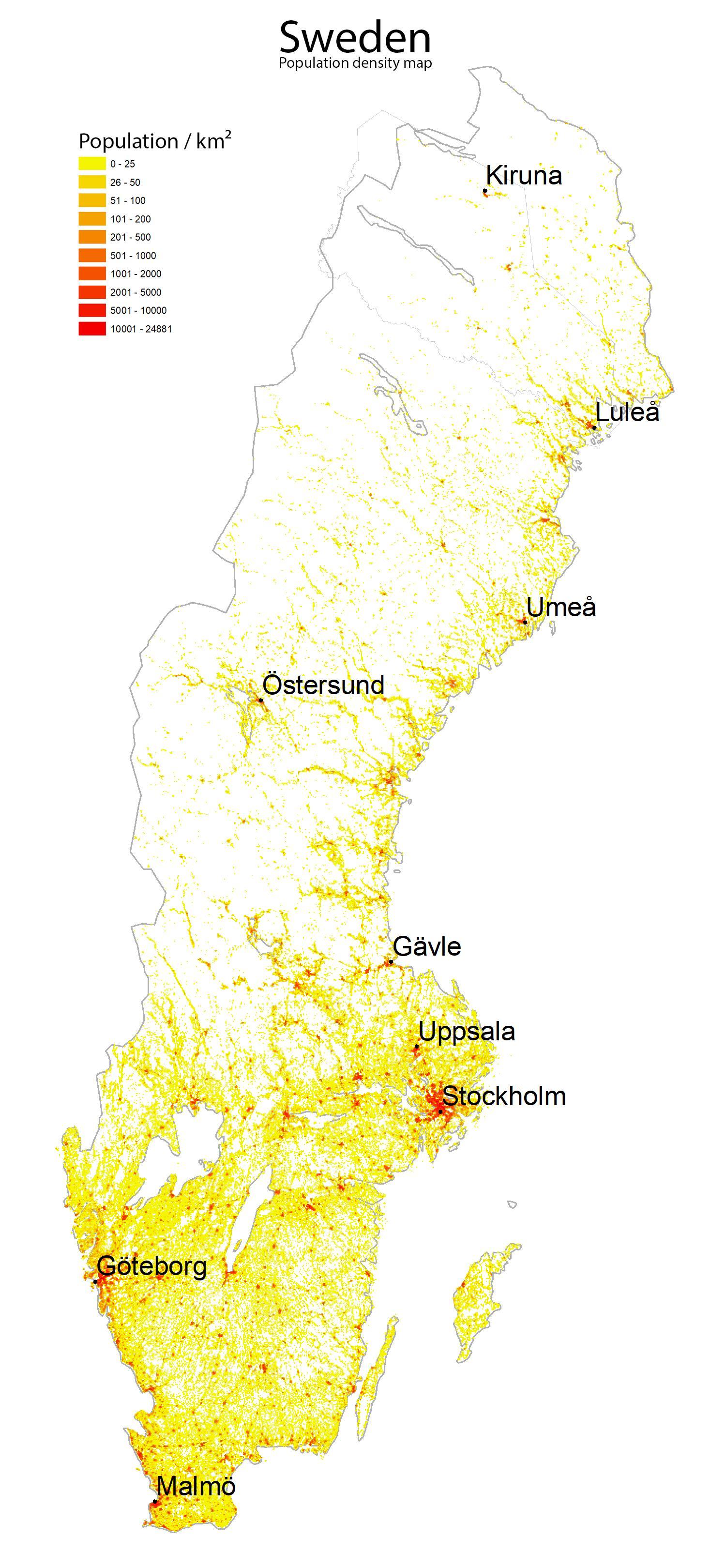 Ruotsin Vaestotiheys Kartta Asukastiheys Kartta Ruotsi Pohjois