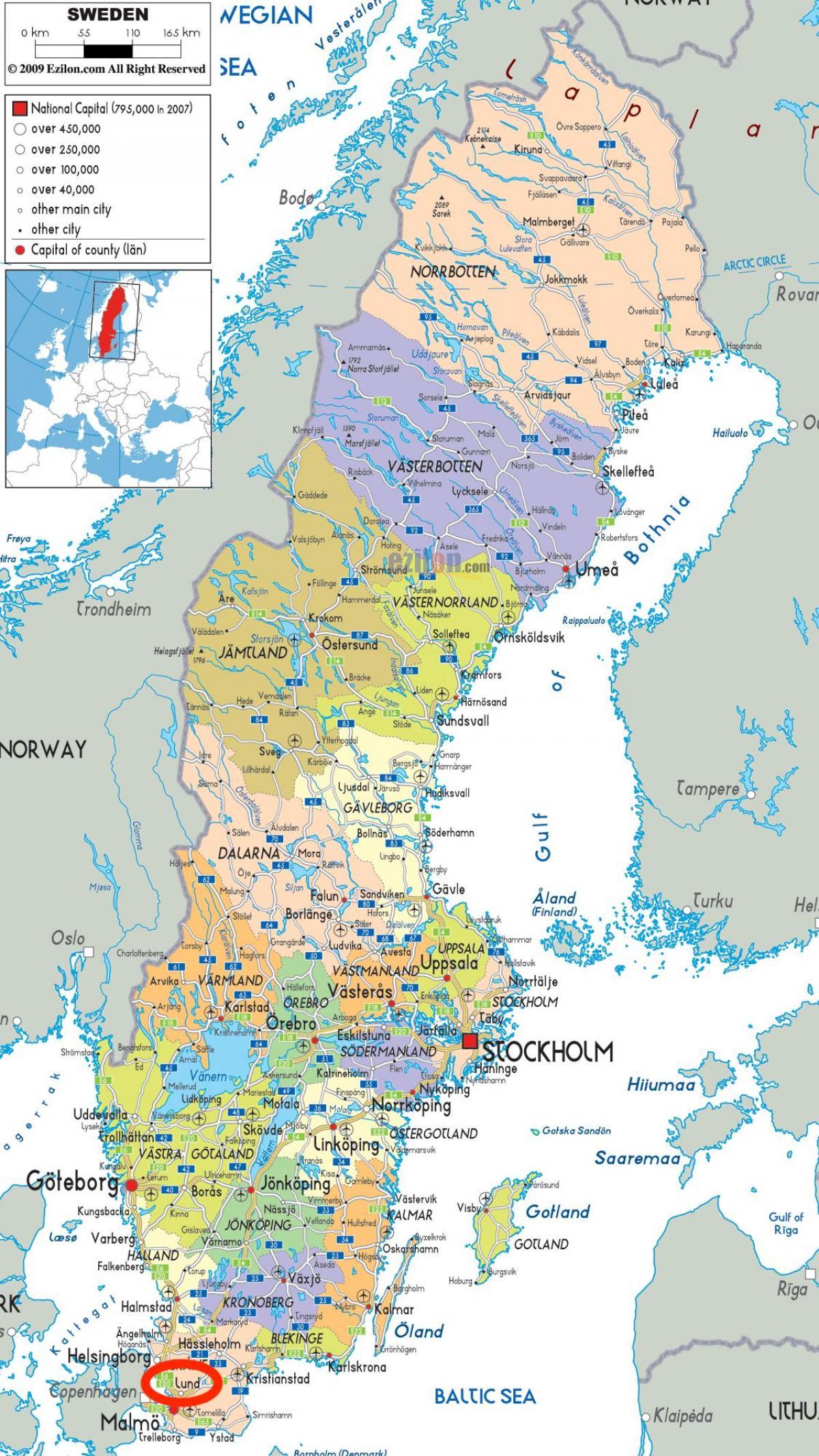 Lund Ruotsi Kartta Kartta Lund Ruotsi Pohjois Eurooppa Eurooppa