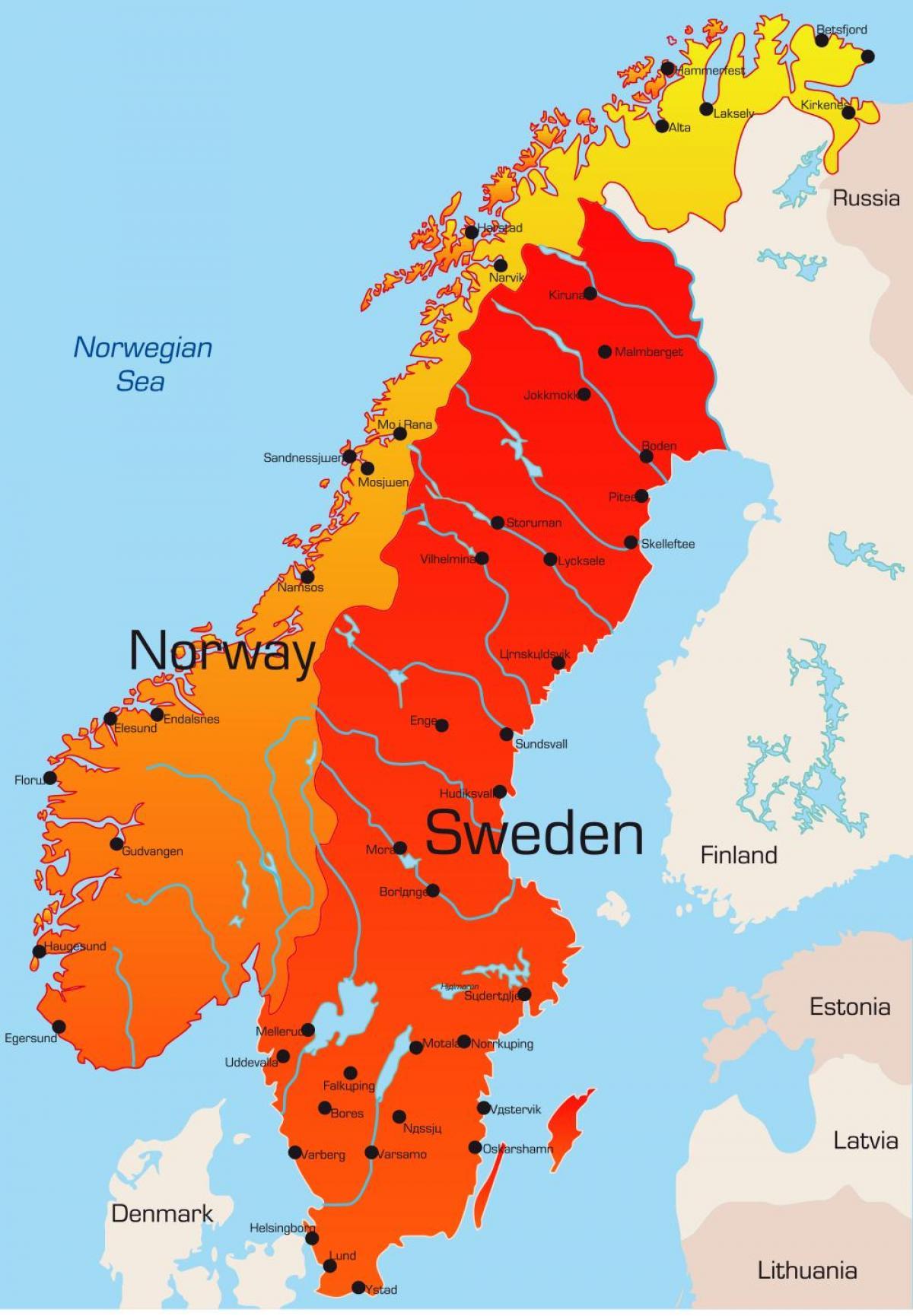 Ruotsi Kartta Kaupungit Kartta Ruotsin Kaupungeissa Pohjois