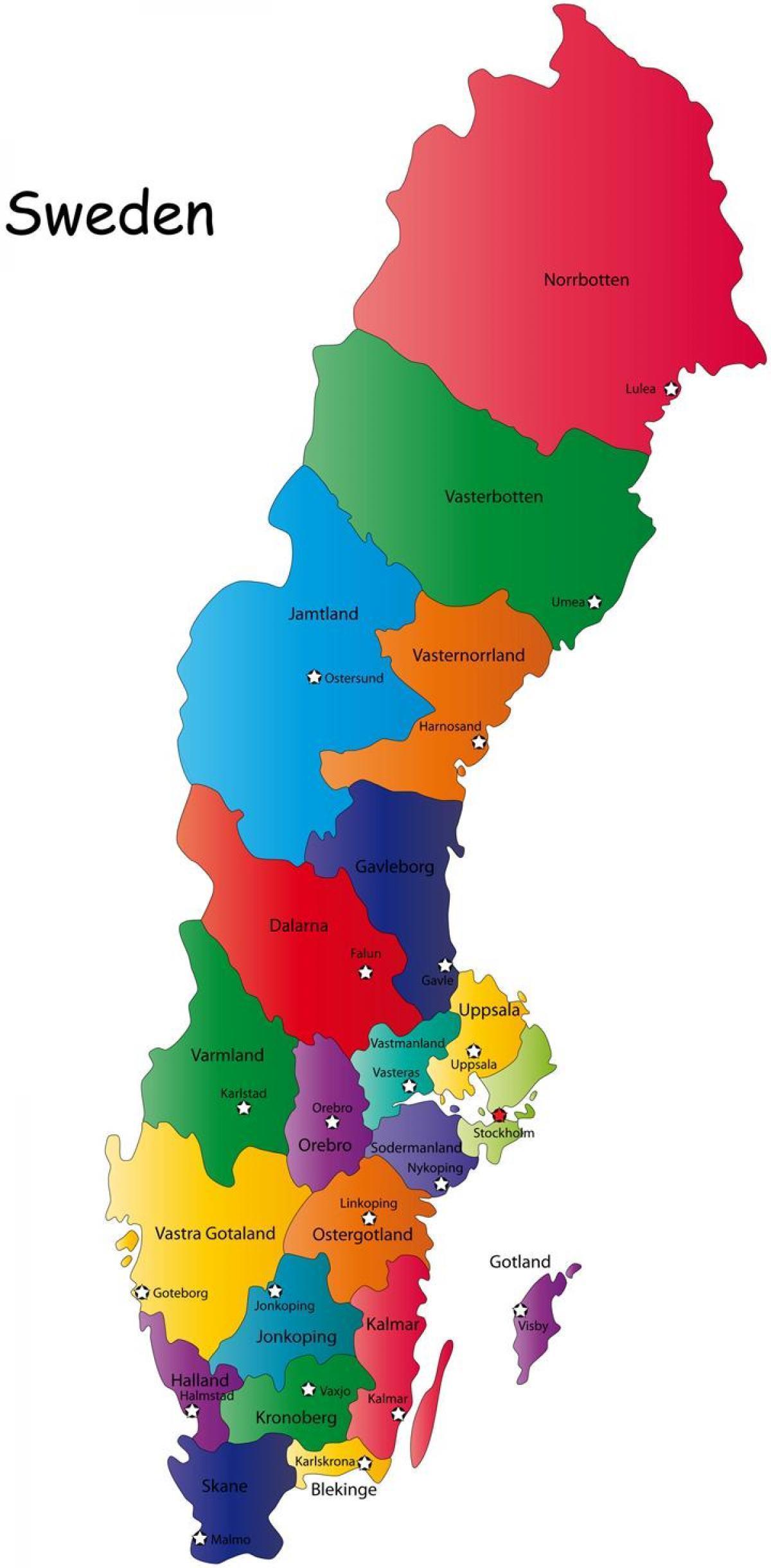 Ruotsi Kartta Laanit Kartta Ruotsin Maakunnat Pohjois Eurooppa