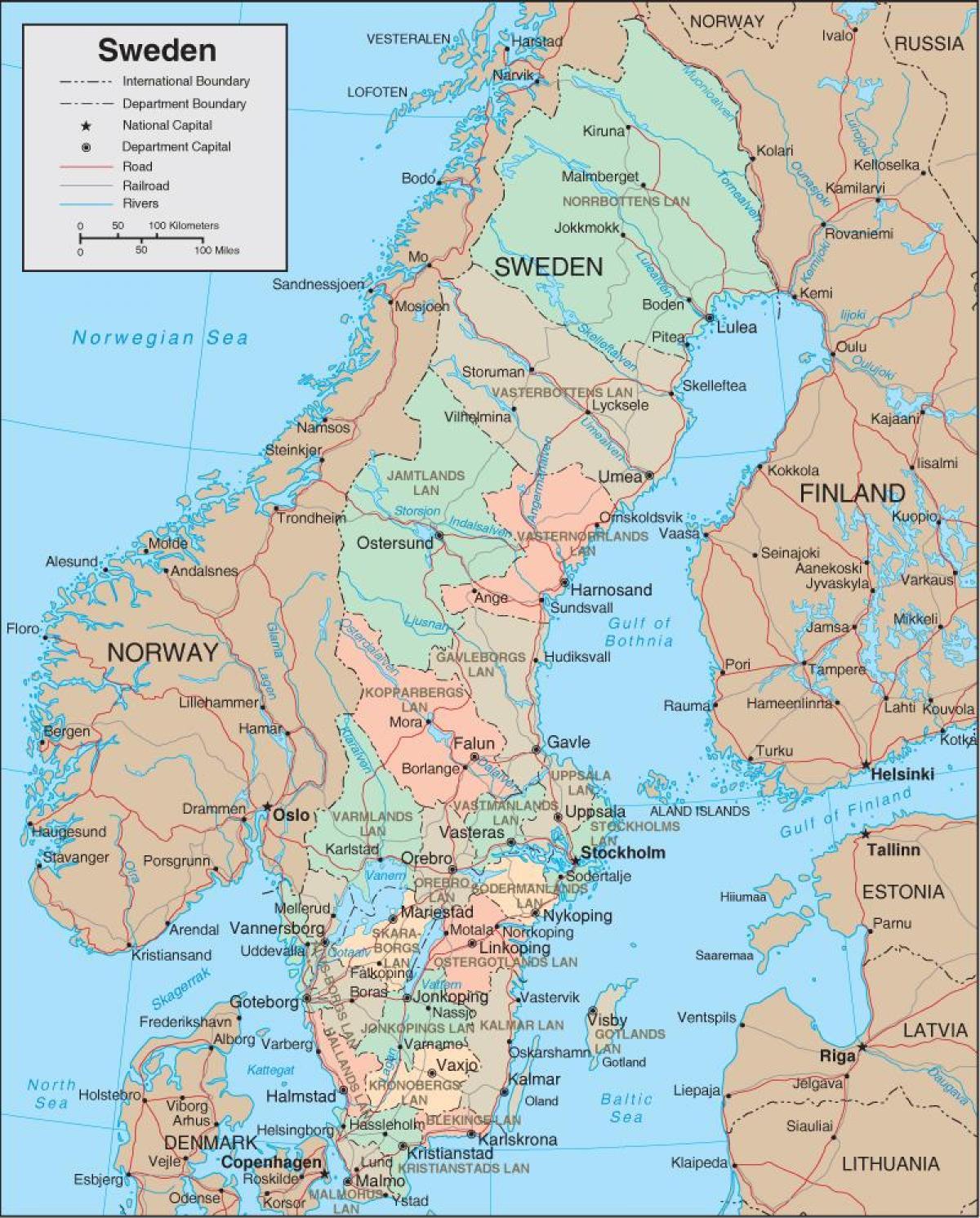 Ruotsi Kartta Yksityiskohtainen Kartta Ruotsi Pohjois Eurooppa