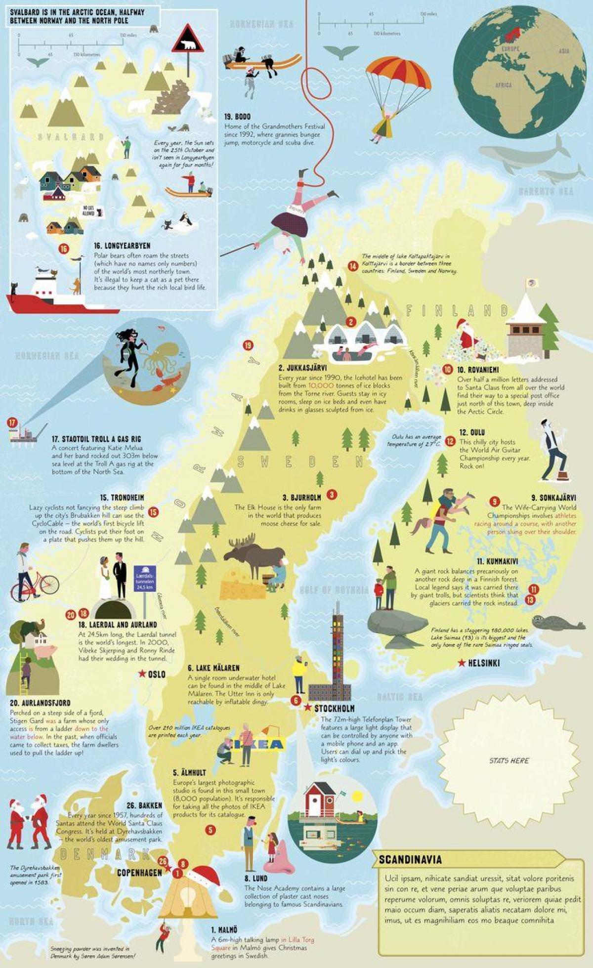 Ruotsin Nahtavyydet Kartta Ruotsi Vetovoima Kartta Pohjois
